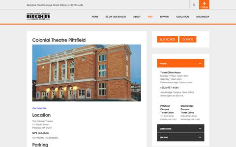 Screenshot of berkshiretheatregroup.org - Colonial Theatre Pittsfield - captured March 30, 2016