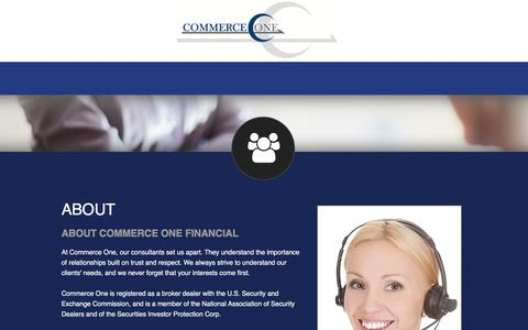 Screenshot of About Page commerceonefinancial.com - About | Commerce One Financial - captured May 20, 2017