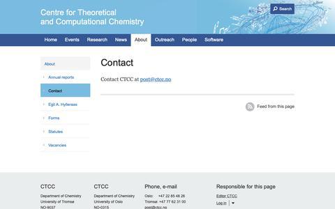 Screenshot of Contact Page ctcc.no - Contact               - CTCC - captured Sept. 27, 2018