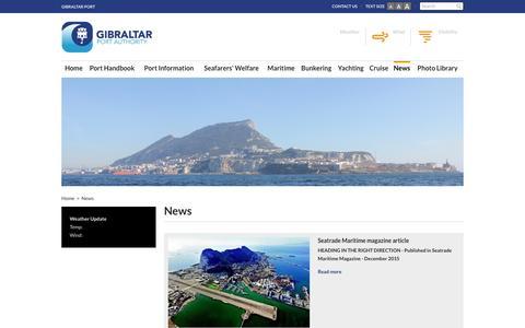 Screenshot of Press Page gibraltarport.com - News | Gibraltar Port Authority - captured Jan. 28, 2016