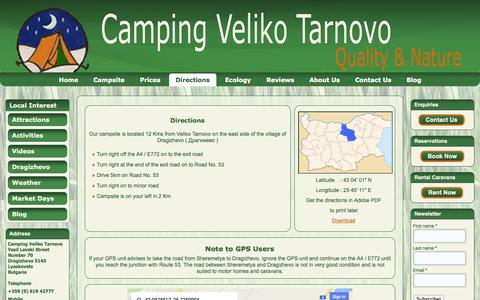 Screenshot of Maps & Directions Page campingvelikotarnovo.com - Directions | Camping Veliko Tarnovo - captured Sept. 27, 2014