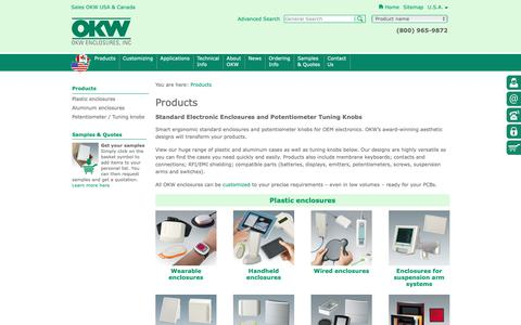 Screenshot of Products Page okwenclosures.com - Electronic Enclosures, Potentiometer Knobs   OKW - captured Oct. 19, 2018