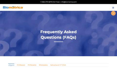 Screenshot of FAQ Page biomatrica.com - FAQs - Biomatrica - captured July 12, 2018