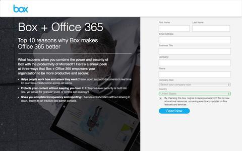 Screenshot of Landing Page box.com - Box - captured April 16, 2016