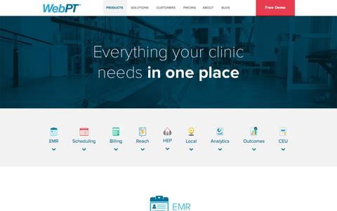 Screenshot of Products Page webpt.com - Physical Therapy EMR | Physical Therapy Software | WebPT - captured Nov. 19, 2019