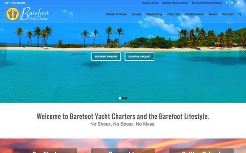 Screenshot of Home Page barefootyachts.com - Home | Barefoot Bareboat Yacht Charters - captured Jan. 21, 2017