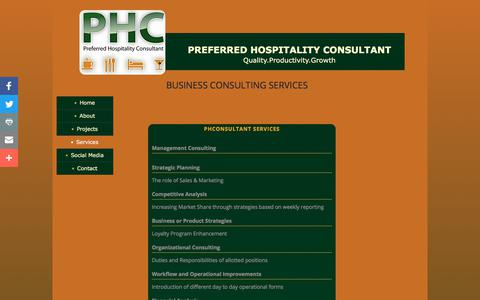 Screenshot of Services Page phconsultant.com - Preferred Hospitality Consultant - Online : Services - captured Aug. 21, 2017