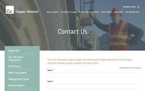 Screenshot of Contact Page copperalliance.org - Contact Us | Copper Alliance - captured Dec. 19, 2018
