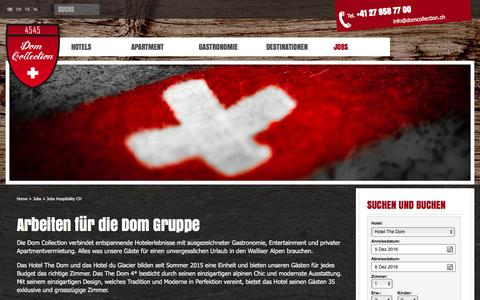Screenshot of Jobs Page domcollection.ch - Urlaub im Wallis – Ihre Urlaubsanfrage - captured Dec. 5, 2016
