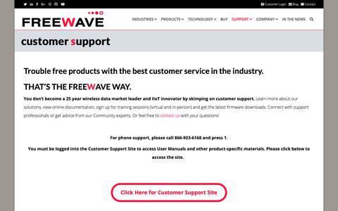 Screenshot of Support Page Login Page freewave.com - Freewave Customer Support - captured Nov. 8, 2018