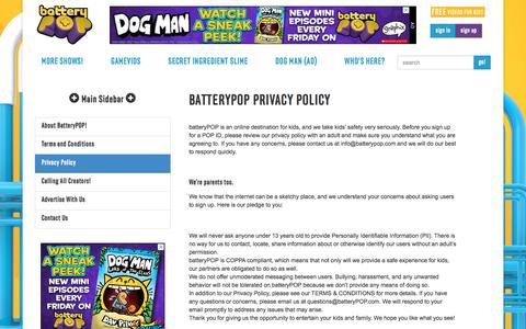 Screenshot of Privacy Page batterypop.com - Privacy Policy | batteryPOP - captured Aug. 5, 2018