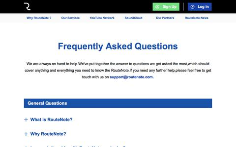 Screenshot of FAQ Page routenote.com - RouteNote: Sell Your Music Online - Digital Music Distribution - Promotion - Publishing - captured July 11, 2019