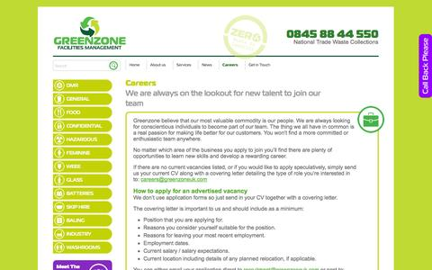 Screenshot of Jobs Page greenzoneuk.com - Careers - Greenzone Facilities Management - captured Nov. 2, 2014