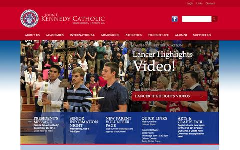 Screenshot of Home Page kennedyhs.org - Kennedy Catholic High School - captured Oct. 6, 2014