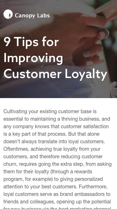 9 Tips for Improving Customer Loyalty - Canopy Labs
