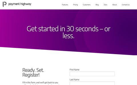 Screenshot of Signup Page paymenthighway.io - Get Started - captured Oct. 23, 2018