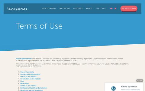 Screenshot of Terms Page buyapowa.com - Terms of Use - Buyapowa - captured Oct. 7, 2016
