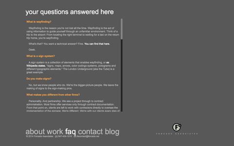 Screenshot of FAQ Page forcade.net - Forcade Associates: faq - captured Oct. 6, 2014