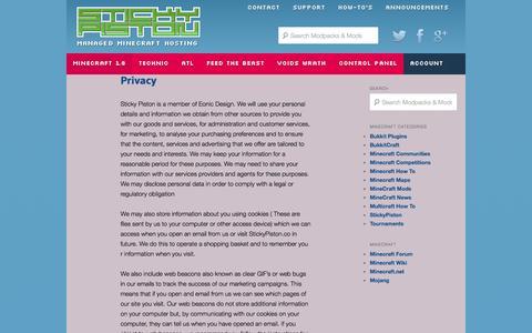 Screenshot of Privacy Page stickypiston.co - Privacy - StickyPiston Hosting - captured Nov. 4, 2014