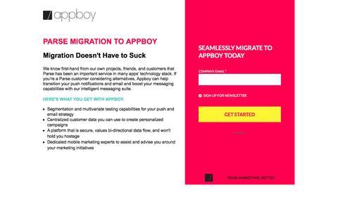 Screenshot of Landing Page appboy.com - Parse To Appboy Migration   Appboy - captured April 30, 2017