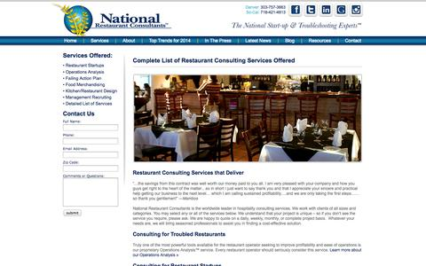 Screenshot of Services Page restaurantconsulting.us - National Restaurant Consultants | Restaurant Consulting Services - captured Oct. 27, 2014