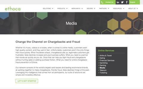 Screenshot of Press Page ethoca.com - Media | Chargeback Fraud Prevention For Online Merchants | Ethoca - captured Oct. 30, 2019