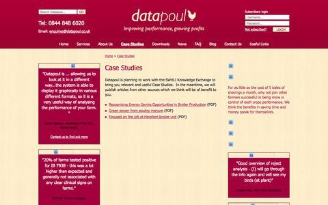 Screenshot of Case Studies Page datapoul.co.uk - Case Studies - Datapoul - Improving performance, growing profits - captured Oct. 5, 2014