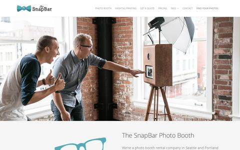 Screenshot of Home Page thesnapbar.com - The SnapBar | Seattle Photo Booth & Hashtag Printing Company | Photo Booth Rentals In Portland Too - captured Jan. 11, 2016