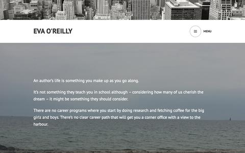 Screenshot of Home Page evaoreilly.com - Eva O'Reilly – The life of an author entrepreneur - captured Oct. 22, 2018