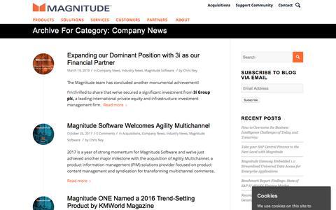 Screenshot of Press Page magnitude.com - Company News Archives - Magnitude - captured Oct. 3, 2019