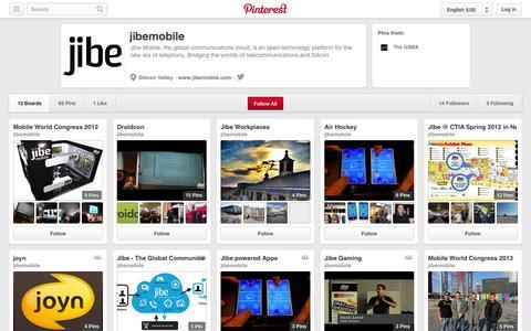 Screenshot of Pinterest Page pinterest.com - jibemobile on Pinterest - captured Oct. 22, 2014