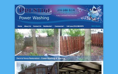 Screenshot of Home Page prestigestl.com - Best Power Washing & Pressure Washing Company in Ballwin MO - captured Nov. 11, 2018
