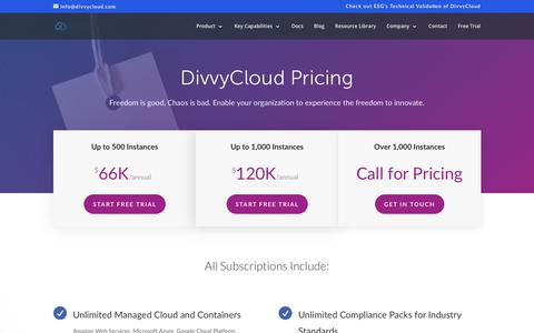 Screenshot of Pricing Page divvycloud.com - Pricing | DivvyCloud - Guardrails for Cloud and Container Infrastructure - captured Oct. 15, 2019