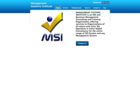 Screenshot of Home Page msiisos.com - Management Systems Institute - Home - captured Feb. 4, 2016