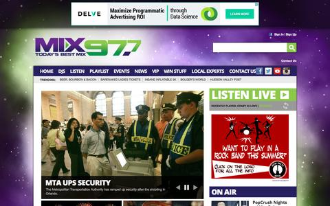 Screenshot of Home Page mix97fm.com - Mix 97FM – The best music mix – Poughkeepsie - captured June 14, 2016