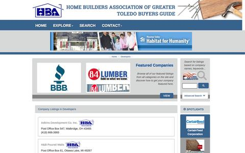 Screenshot of Developers Page toledobuildersbuyersguide.com - Developers - Company Listings :: Home Builders Association of Greater Toledo Buyers Guide - captured April 17, 2016