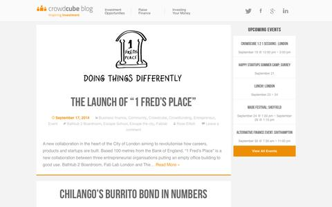Screenshot of Blog crowdcube.com - The Crowdcube Blog - Giving you news and views about crowdfunding and Crowdcube - captured Sept. 18, 2014