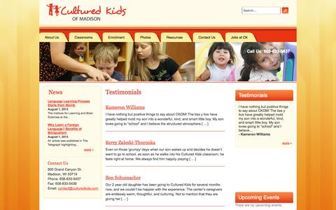 Screenshot of Testimonials Page culturedkidsofmadison.com - Testimonials   Cultured Kids of Madison - captured Oct. 3, 2014