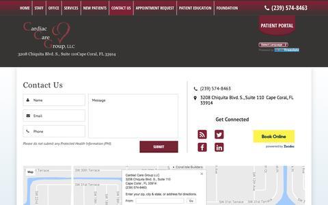 Screenshot of Contact Page flccg.com - Cardiac Care Group, LLC: Contact Us - CCG | Cape Coral, FL - captured Oct. 22, 2016