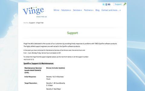 Screenshot of Support Page vingefree.com - Support - Vinge Free   Vinge Free - captured Oct. 7, 2014