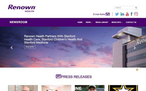 Screenshot of Press Page renown.org - Newsroom   Renown Newsroom - captured Dec. 16, 2016