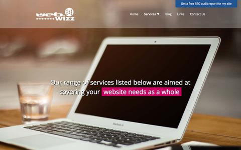 Screenshot of Services Page webwizz.co.za - Services online marketing offered to small to large businesses - captured Sept. 20, 2018