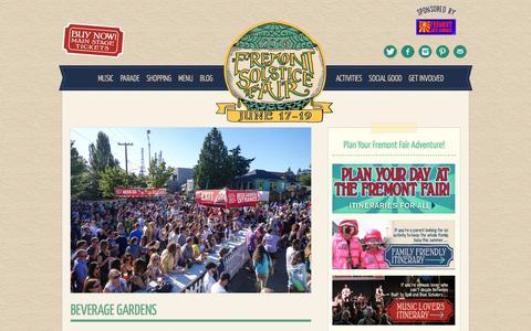 Screenshot of Menu Page fremontfair.org - Beverage Gardens • Fremont Solstice Fair • June 19-21, 2015 - captured March 5, 2016