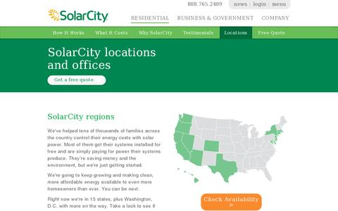 Screenshot of Locations Page solarcity.com - SolarCity Locations by State - Solar by State | SolarCity - captured July 20, 2014