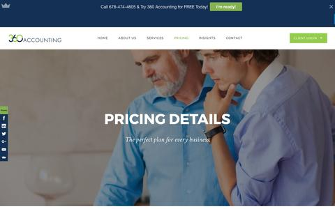 Screenshot of Pricing Page 360accounting.co - Pricing | 360 Accounting - captured May 8, 2017
