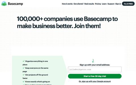 Screenshot of Signup Page basecamp.com - Sign up for Basecamp 3 - captured July 10, 2018