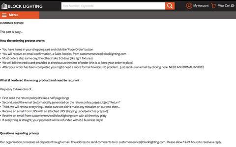 Screenshot of Support Page blocklighting.com - Customer Service - captured July 29, 2016