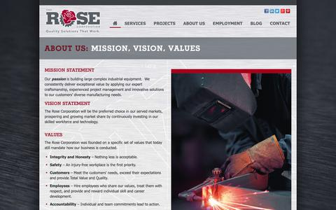 Screenshot of About Page therosecorp.com - About Us: Mission, Vision, Values - The Rose Corporation - captured Oct. 20, 2018