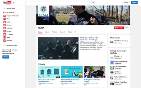 Screenshot of YouTube Page youtube.com - FEMA  - YouTube - captured Oct. 23, 2014