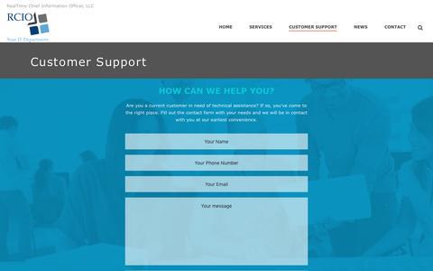 Screenshot of Support Page rcio.biz - RCIO Tech Support | Real Time CIO LLP - captured Feb. 26, 2016